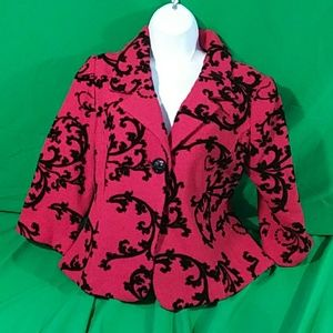 Coldwater creek PS flocked floral tapestry blazer